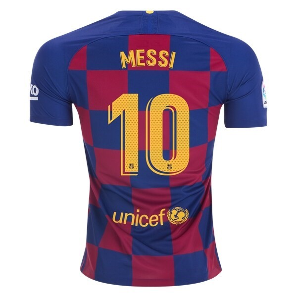 Maillot Football Barcelone NO.10 Messi Domicile 2019-20 Bleu Rouge