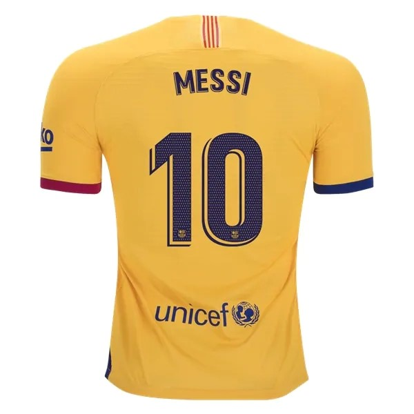 Maillot Football Barcelone NO.10 Messi Exterieur 2019-20 Jaune