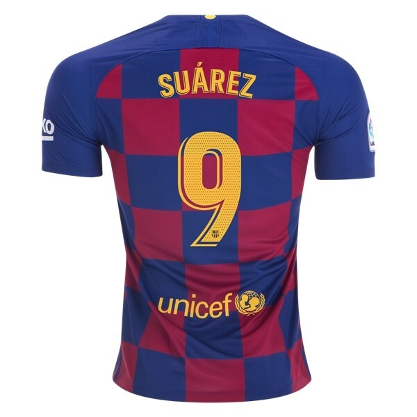 Maillot Football Barcelone NO.9 Suarez Domicile 2019-20 Bleu Rouge