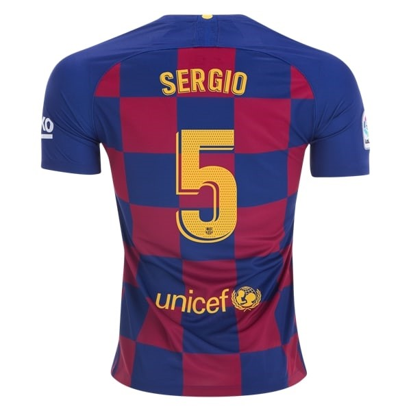 Maillot Football Barcelone NO.5 Sergio Domicile 2019-20 Bleu Rouge