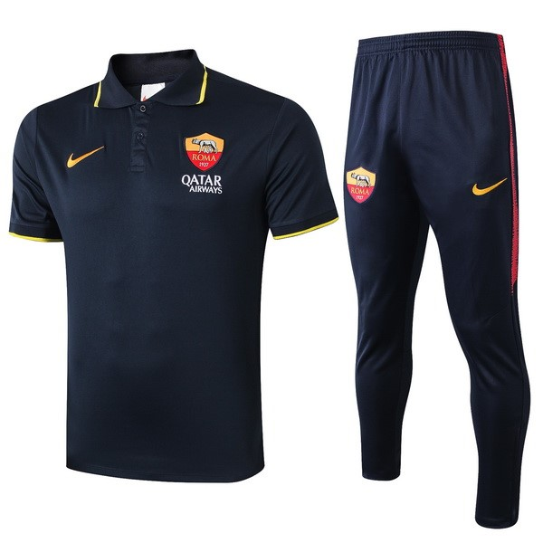 Polo Ensemble Complet As Roma 2019-20 Noir Jaune
