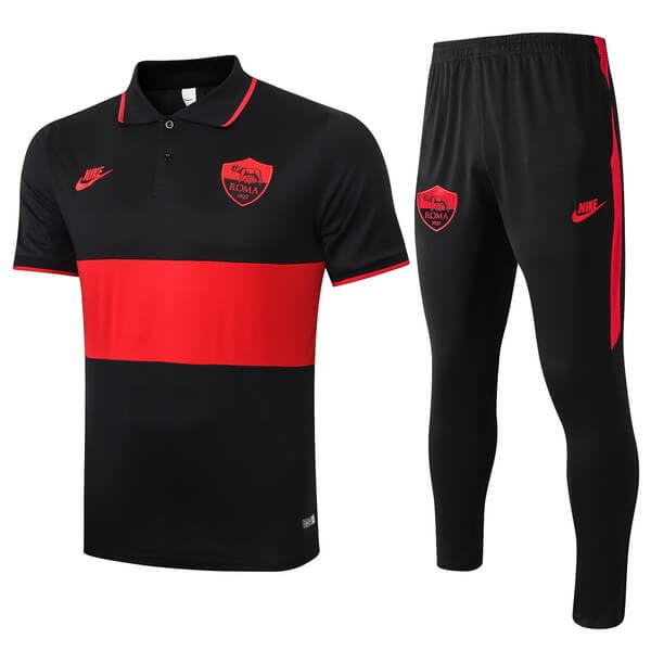 Polo AS Roma Ensemble Complet 2019-20 Noir Rouge