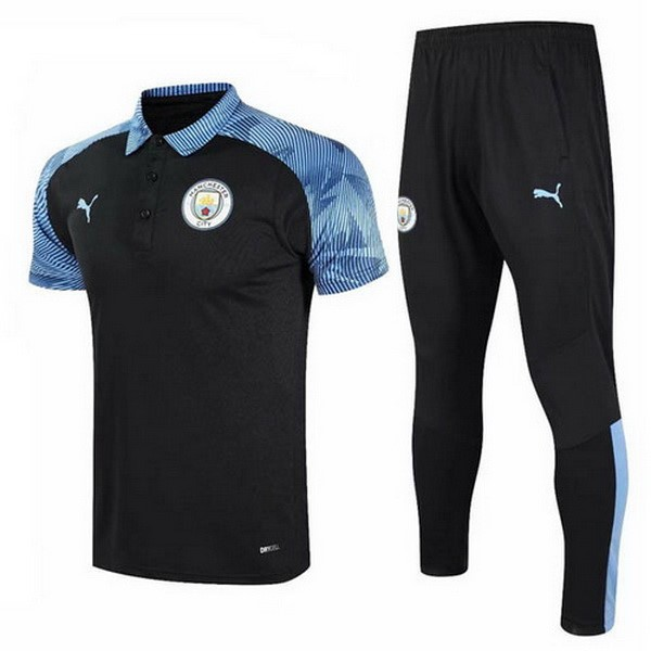 Polo Football Manchester City Ensemble Complet 2020-21 Bleu Noir