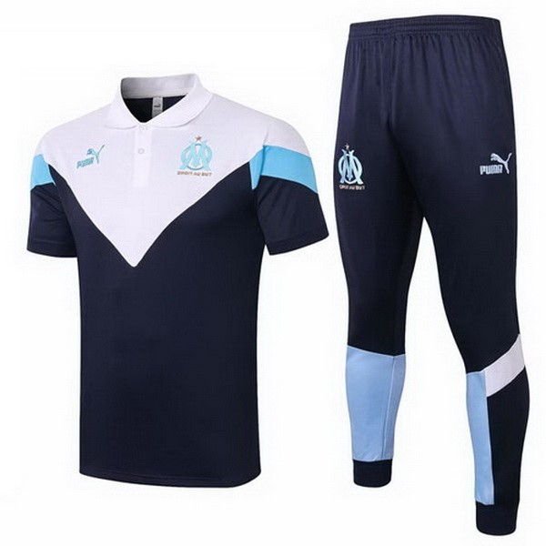 Polo Football Marseille Ensemble Complet 2020-21 Blanc Bleu