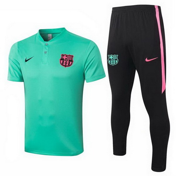 Polo Football Barcelone Ensemble Complet 2020-21 Vert Noir