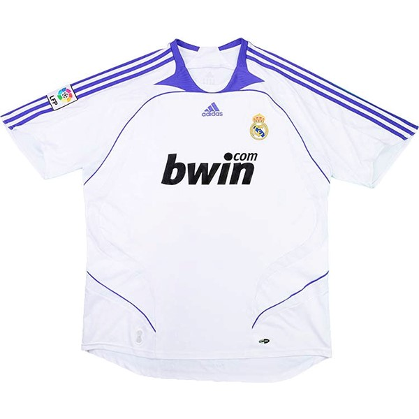 Thailande Maillot Football Real Madrid Domicile Retro 2007 2008 Blanc