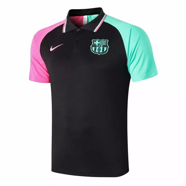 Polo Football Barcelone 2020-21 Noir Rose Vert