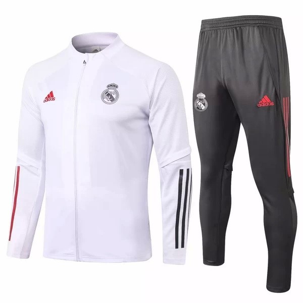 Survetement Real Madrid 2020-21 Blanc Gris Rouge