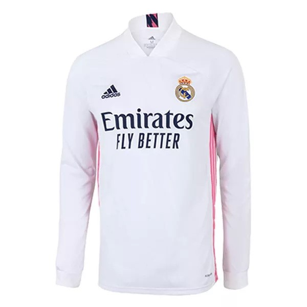 Thailande Maillot Football Real Madrid Domicile ML 2020-21 Blanc
