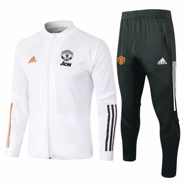 Survetement Manchester United 2020-21 Blanc Noir Orange