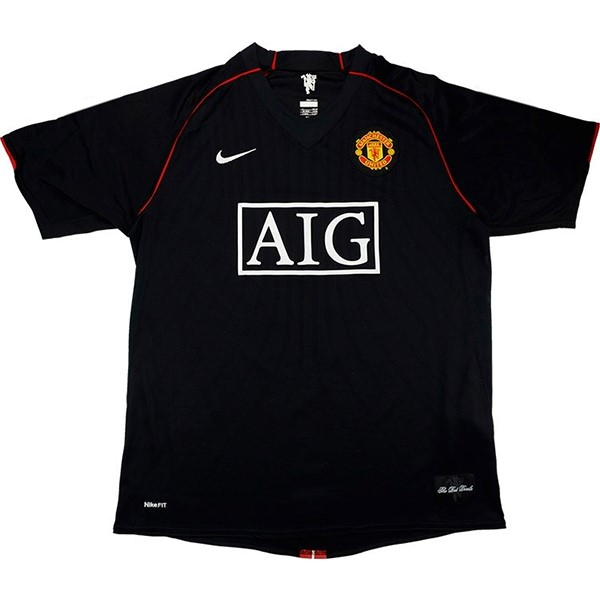 Thailande Maillot Football Manchester United Third Retro 2007 2008 Noir