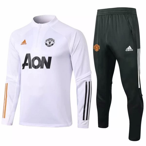 Survetement Manchester United 2020-21 Blanc Noir