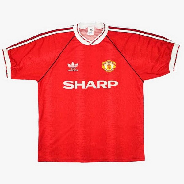 Thailande Maillot Football Manchester United Domicile Retro 1990 1992 Rouge