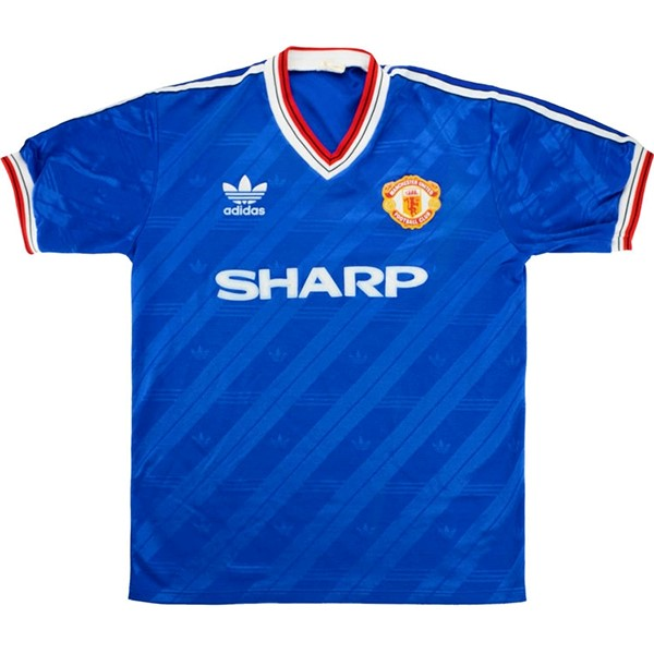 Thailande Maillot Football Manchester United Third Retro 1986 1988 Bleu