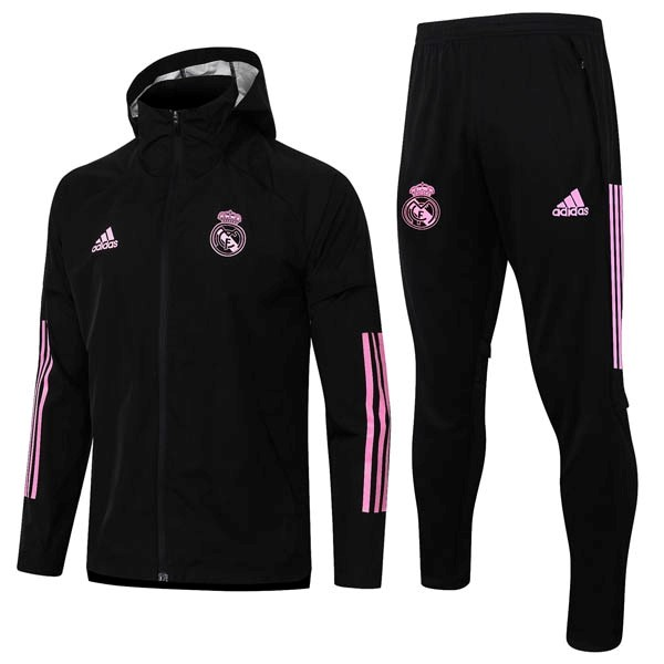Coupe Vent Real Madrid Ensemble Complet 2020-21 Noir Rose