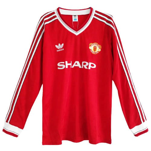 Maillot Football Manchester United Domicile ML Retro 1986 Rouge