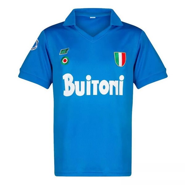 Maillot Football Naples Domicile Retro 1987 1988 Bleu
