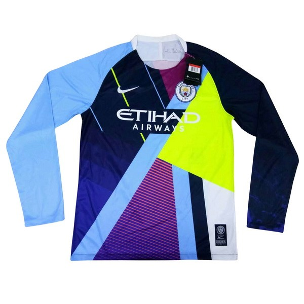 Maillot Football Manchester City Édition Commémorative ML 2018-19 Bleu