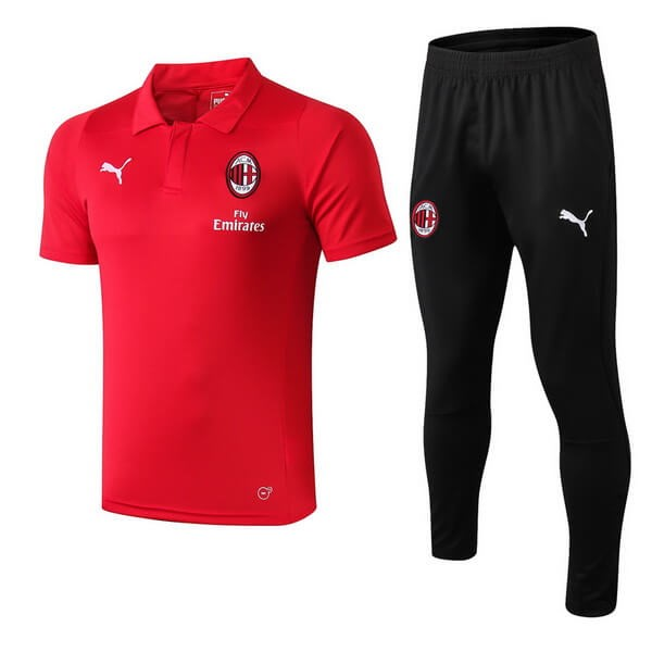 Polo Ensemble Complet AC Milan 2018-19 Rouge