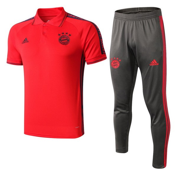 Polo Ensemble Complet Bayern 2019-20 Rouge Gris