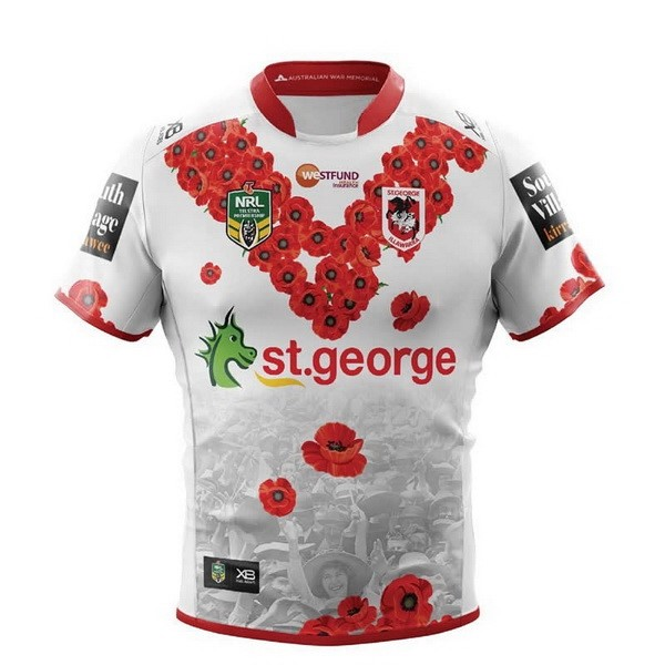 Maillot Rugby St.George Illawarra Dragons Édition Commémorative 2018 Blanc