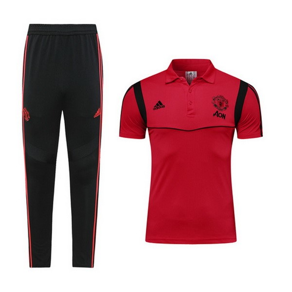 Polo Ensemble Complet Manchester United 2019-20 Bordeaux Noir